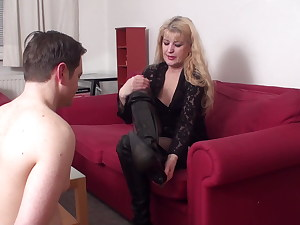 mature lady andrea want bobby smell he sweaty feet from shoe