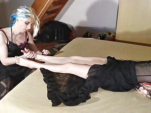 Sissy crossdresser slave kiss & massage mistress's feet pt1