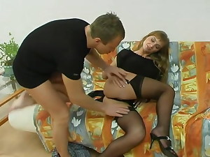 A lot of fun with russian dark-hued pantyhose