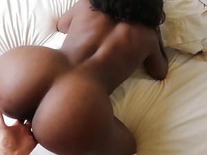 Big Backside Dark-hued Goddess Fungered By White Gentleman