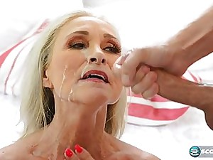 Lusty light-haired female, Katia is wringing her meaty funbags while getting wedged with 2 pricks